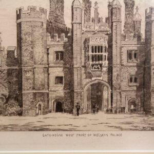 Set of 10 Copperplate etchings of Hampton Court Palace